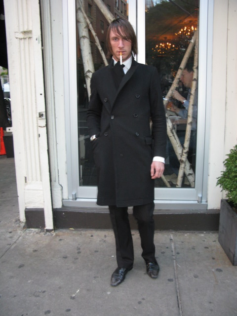 Street look mens blk suit 11-09